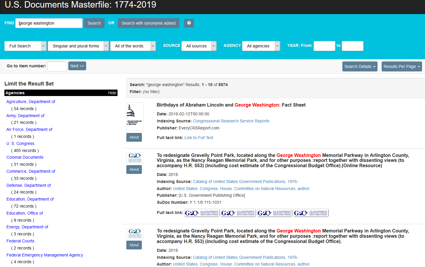 USDM search results page