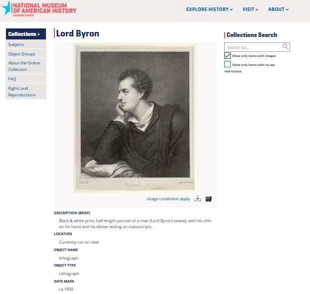 Catalog record with scan of a portrait of Lord Byron