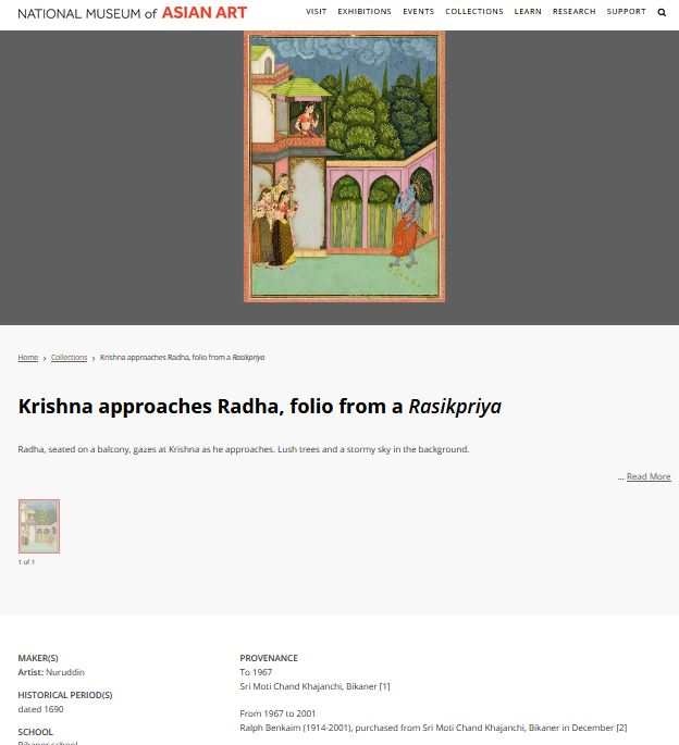 Catalog record with scan of a painting of Krishna