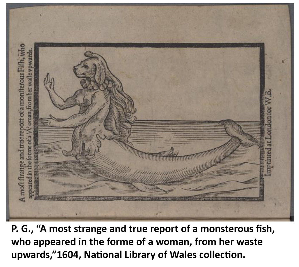 Image of an early modern print depiction of a fish in the form of a woman, 1604
