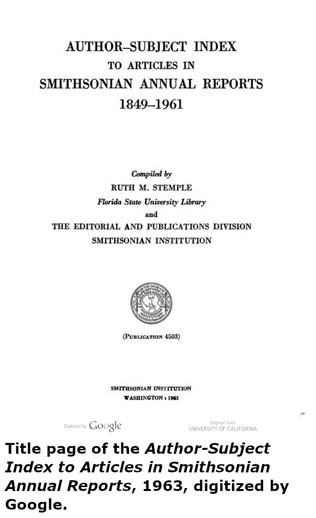 Title page of the Index to Smithsonian Annual Reports
